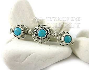 Triple Turquoise Stone Bracelet Connector, Round Smooth Trio Gemstone Connector, Bohemian Jewelry, Turkish Jewelry