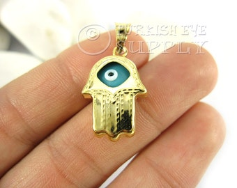 1 pc Gold Hamsa Evil Eye Pendant, Sky Blue Glass Evil Eye Hand of Fatima Charm, 22K Gold Plated Turkish Jewelry