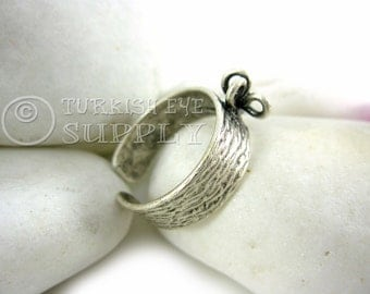 Adjustable Silver Ring Base, Textured Matte Silver Plated Brass Adjustable Ring Base Blank with four Loop Setting