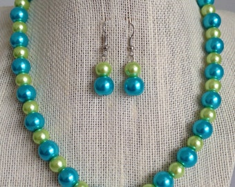 Turquoise and Lime Green Bridesmaid Necklace Turquoise and Lime Green Wedding Bridesmaid Necklace Bridesmaid Gift Turquoise Wedding Jewelry