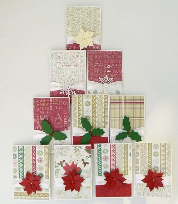 Christmas card set of 10 elegant handmade cards by dennyscraft for Elegant homemade christmas cards