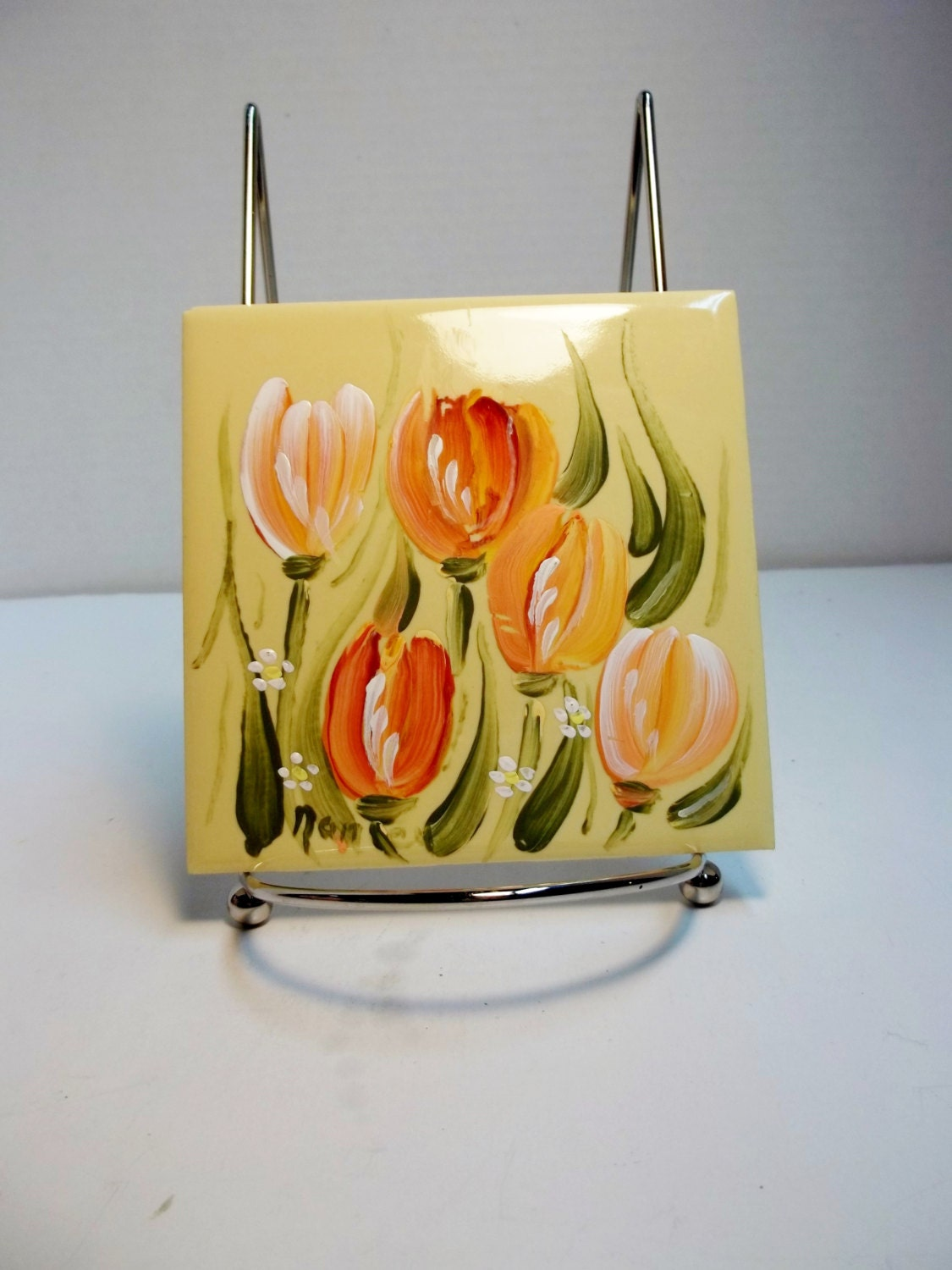 ceramic tile yellow hand painted tulips garden painting. Black Bedroom Furniture Sets. Home Design Ideas