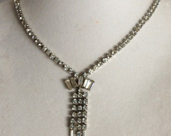 Vintage Clear Sparkly White Rhinestone Necklace