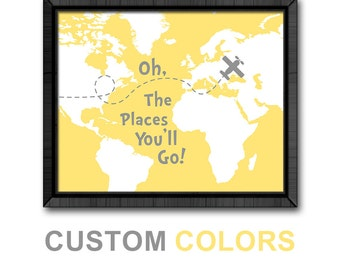 oh the places you'll go map yellow gray, airplane playroom decor, inspirational kid art, dr seuss nursery art, map nursery, little traveler