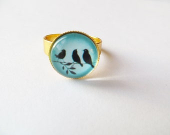 Blue bird ring, bird jewelry, baby blue ring, birds ring, costume jewelry, gold framed, gift ideas