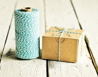 Baker's Twine in Teal Blue & White - 10 Yards - Bakers Packaging Gift Wrapping String Cord Trim Ribbon Pretty Vintage Party Crafting Decor
