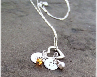 Personalized Hand Stamped Sterling Silver Mothers Floating Heart Necklace Swarovski Birthstones Gift for Her MOM