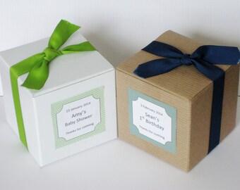 20 Custom Favor box, cupcake box (no inserts) for bridal shower, baby shower wedding favors 3x3x3 box, chocolate box, Personalized Favor box