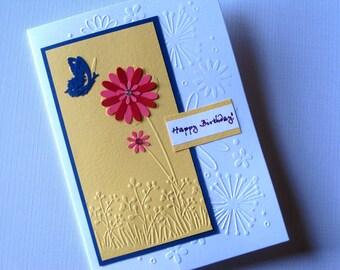 Birthday Card, Handmade embossed birthday card. Birthday wishes.Christian Birthday Card.