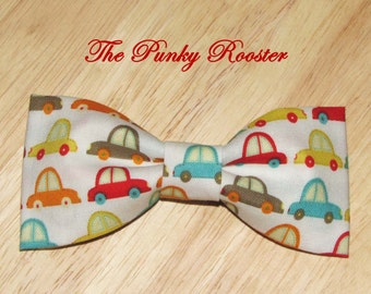 Tiny Cars Bow Tie, Clip on Bow Tie, Boys Bow Tie, Toddler Bow Tie, Infant Bow Tie