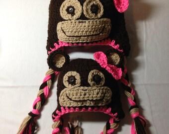 Crochet any size newborn through adult boy or girl monkey earflap hat