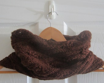 Knit Neck Warmer - Chocolate Brown Cowl Hand Knitted in a Soft Eco Friendly Acrylic - Made in Canada