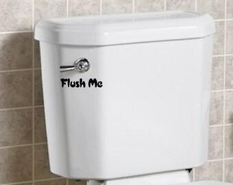 Funny Toilet Decal FLUSH ME vinyl sticker decal