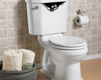 "TOILET MONSTER Cute Peek a Boo Toilet Monster Decal "" One Funny Sticker """
