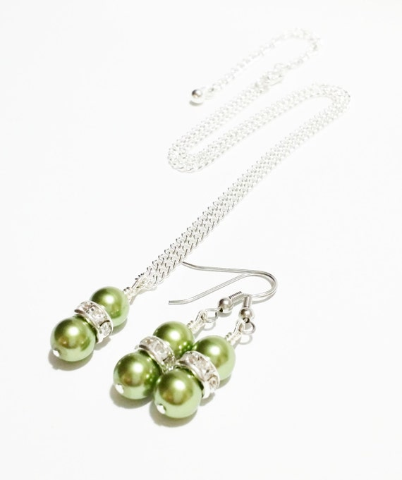 Bridal Party Gift / Bridesmaid Jewelry Set / Olive Green Necklace Set ...