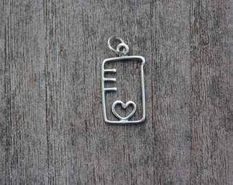 Heart chemistry flask sterling silver pendant