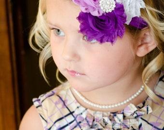 Purple, Lavender & White Rosette Headband-Baby Headband-Shabby Chic Flower Headband-Baby Girl Headband-Baby Hairbows-Headband