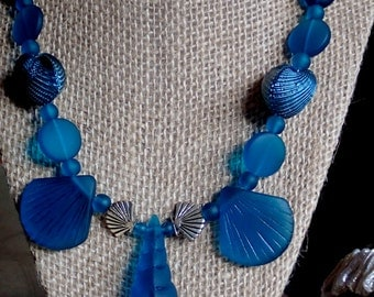 """Blue shell sea glass necklace 20"""""""