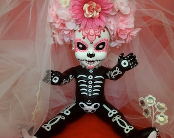 Chica Rhonez is a OOAK  Day of the Dead baby art doll