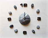 Large wall clock with riv...