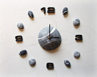 large wall clock with river stones nature decal wall clocks gift for men modern home office