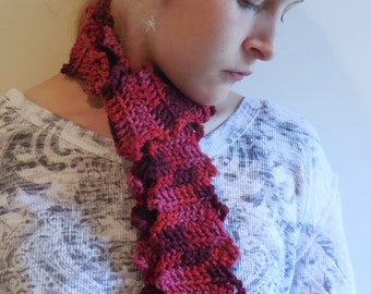 Long Acrylic Fashion Scarf, Pink, Red, Burgundy, Free Shipping in US