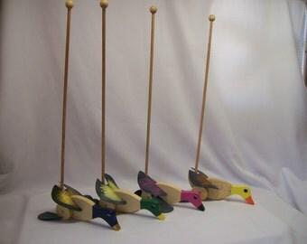 Handmade wood push duck flapper
