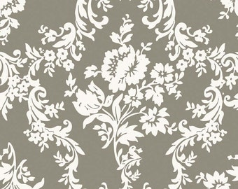 Damask Print Fabric - Found Damask Gray from Lost and Found 2 by My Mind's Eye for Riley Blake C3692 Gray - 1/2 yard