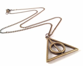 Harry Potter Deathly Hallows Inspired Necklace - Xenophilius Lovegood - Antique Bronze, Antique Brass - Harry Potter Replica, Wizard, Magic