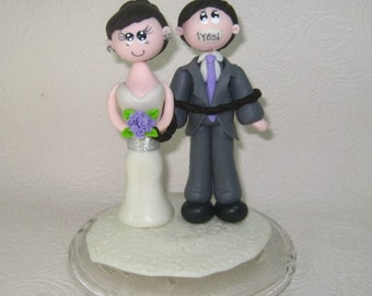 Funny wedding cake topper, personalized wedding cake topper