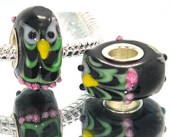 Murano Bead - Owl - Lampwork Glass - Black Owl Bead -  Large Hole - Fits European - A246