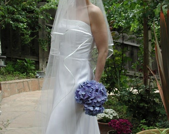 """wedding veil oval gather center top 30"""" first layer 108"""" long second layer with 1/4"""" folded satin ribbon"""