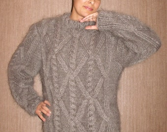 Hand Knitted Mohair Sweater Cable  Fuzzy Gray or Choose your Own Color