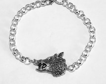 Wild Boar's Head Bracelet, Fine English Pewter on Silver Plated Chain, Handmade (th2)