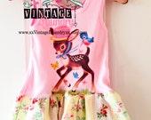Birthday Deer-Vintage Inspired Girls T-Shirt Dress Size 12 months Tank Ready To Ship Girls Baby Tee Tshirt RTS Vintage Image Illustration