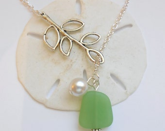 Spring Green Sea Glass Necklace, Charm necklace, Pearl, Silver Branch, bridesmaid necklace, beach wedding.  FREE SHIPPING within the U.S.