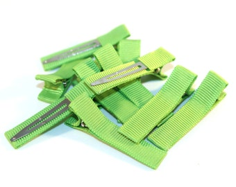 10 Partially Lined Clips - Apple Green