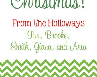 Green Chevon Personalized Holiday Gift Tags