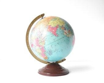 "Vintage 1940s Replogle Precision 10"" World Globe - Home Decor - Nursery Decor - Kids Room Decor - Vintage Globe Old Globe"