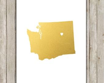 8x10 Washington State Printable, State Wall Art, Metallic Gold Printable Art, Washington Poster, Home Decor, Instant Digital Download