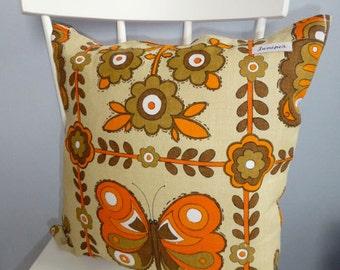 Vintage 70s Fabric Cushion, handmade