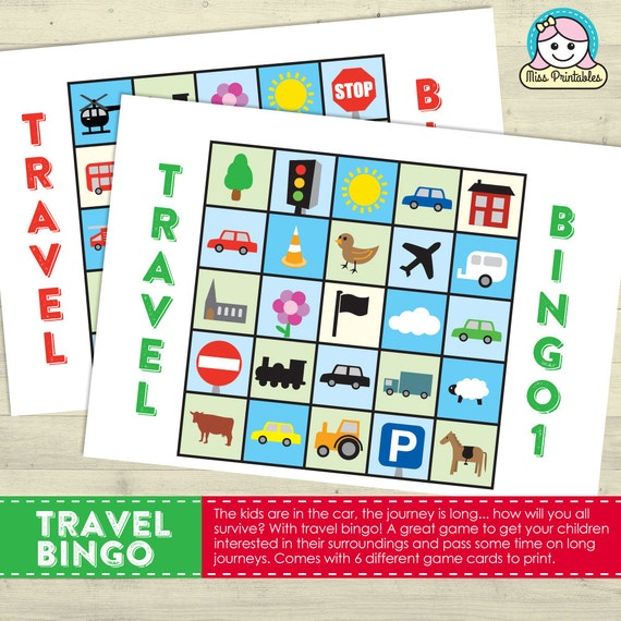 Travel Bingo Printable Game For Long Car Journeys