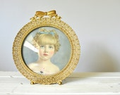 Vintage Hand Colored Photo of a Young Girl - 30s Bubble Glass Frame - Vintage Art - Girls Nursery