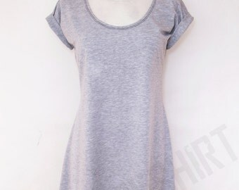 Unique tunic for women with sleeve tabs and round neck