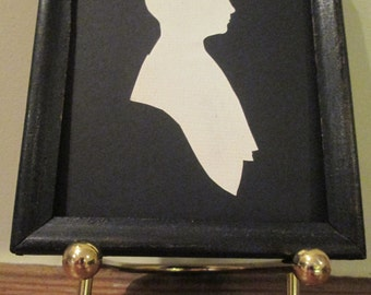 Silhouette Woman's Portrait Hand Cut Original Florence Sampson 1930s Profile Framed Souvenir