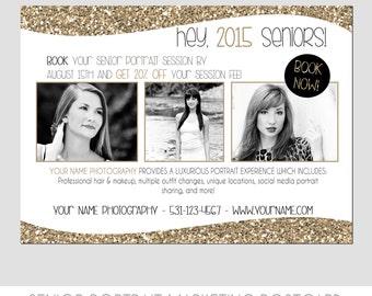 INSTANT DOWNLOAD - Senior Portrait Marketing Template for Photographers - Modern Design - Glitter - Gold - Seniors - Glam - Postcard - 5x7