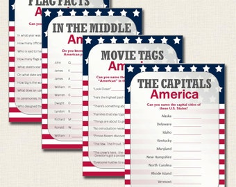 4th of July Games - Patriotic USA America Quiz Cards - Instant Download PDF Printable File - Independence Thanksgiving Flag Day - Fun