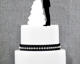 Bride and Groom Wedding Cake Topper in your Choice of Color, Modern Wedding Cake Topper, Couple Wedding Cake Topper- (S104)