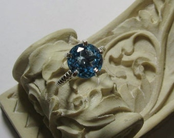 Blue Topaz 14K White Gold Gemstone Ring, Cocktail, Rope Band, Prong, Bella, Made to Order
