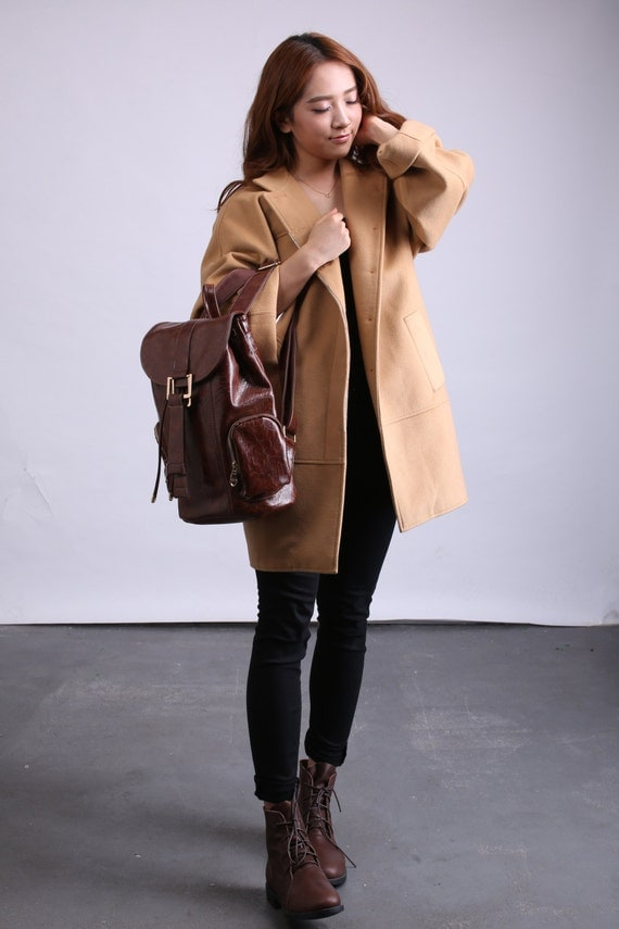 Women's camel wool cape coat plus size coat women wool